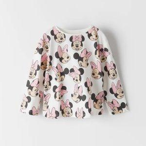 NWT 3-6 month Zara Minnie Mouse shirt